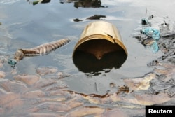 FILE - Crude oil from a Shell pipeline spill accumulates along a river bank in the Oloma community in the Niger Delta, Nov. 27, 2014.