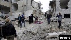 La ville de Maaret al-Numan dans la province d'Idleb en Syrie.