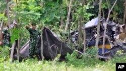 Hiện trường một vụ tai nạn máy bay quân sự ở Indonesia năm 2015.
