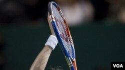 Reaksi Petra Kvitova setelah mengalahkan Caroline Wozniacki di kejuaraan WTA, Kamis (27/10).