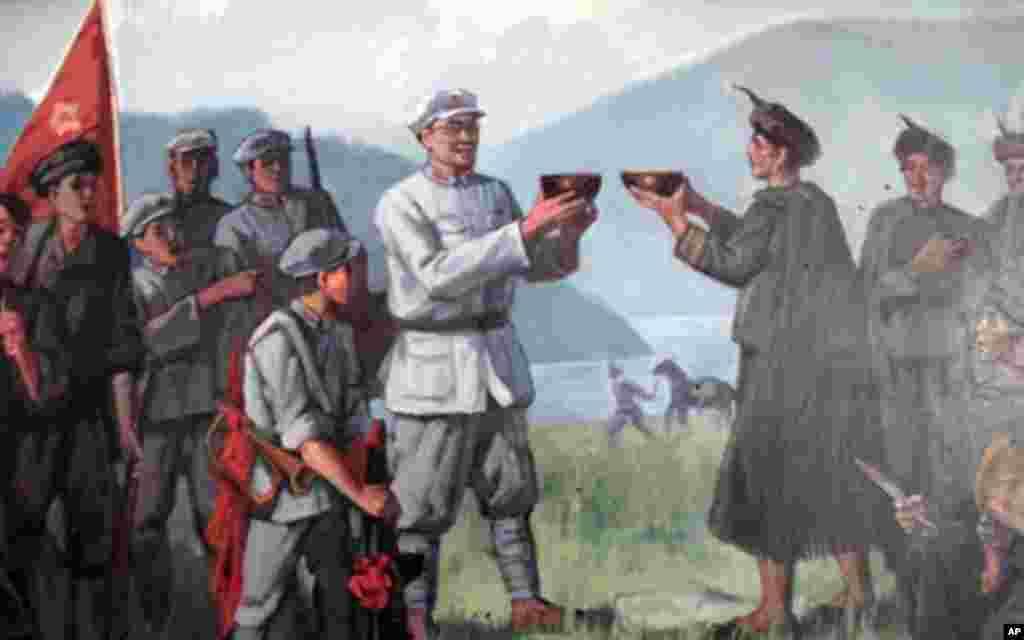纪念馆里反映彝海结盟场面的油画