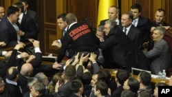 Lawmakers fight in Ukraine's parliament in Kyiv, Ukraine, December 12, 2012.