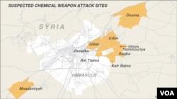 Các địa điểm bị nghi ngờ bị tấn công bằng vũ khí hóa học tại Syria.