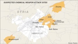 MAP: Suspected chemical weapon attack sites, Damascus