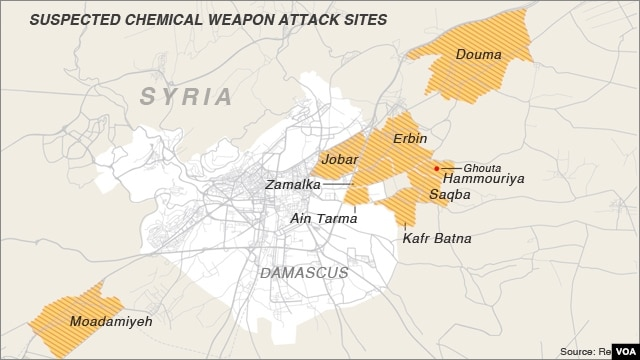 Suspected chemical weapon attack sites in Damascus