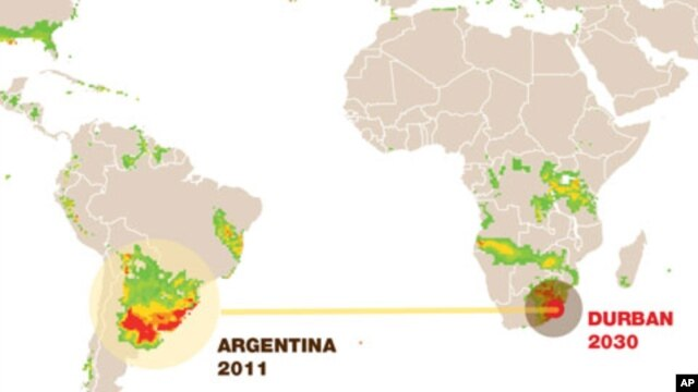 By 2030, scientists predict Durban, South Africa will have a climate very similar to that of Argentina and Uruguay. The South American countries have already adapted to growing food at higher temperatures.