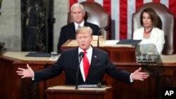 AQSh Prezidenti Donald Tramp Kongress qo'shma majlisida gapirmoqda, Vashington, 5-fevral, 2019-yil.