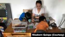 Nisakorn Quispe has been homeschooling her children for a few weeks due to school closures amid the COVID-19 pandemic in Queens, New York City.