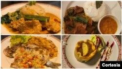 Pratos típicos servidos no restaurante Cena Angolana, Roma, Itália