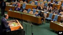 El canciller ruso se dirige a la Asamblea General de Naciones Unidas.