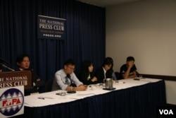 太阳花学运领袖 美国全国记者俱乐部记者会(美国之音 钟辰芳拍摄)