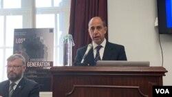 토마스 퀸타나 유엔 북한인권 특별보고관이 18일 워싱턴에서 민간단체인 북한인권위원회가 개최한 행사에 참석했다.