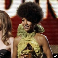 Esperanza Spalding accepts the award for best new artist at the 53rd annual Grammy Awards, February 13, 2011