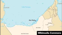 Lokasi Abu Dhabi di kawasan Uni Emirat Arab.