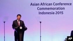 시진핑 중국 국가주석이 22일 인도네시아 자카르타에서 개막한 아시아-아프리카 정상회의에서 기조연설을 하고 있다.
