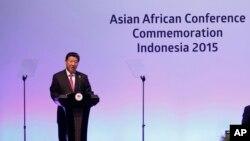 Chủ tịch Trung Quốc Tập Cận Bình phát biểu tại Hội nghị thượng đỉnh Á-Phi ở Jakarta, Indonesia, ngày 22 tháng 4, 2015.