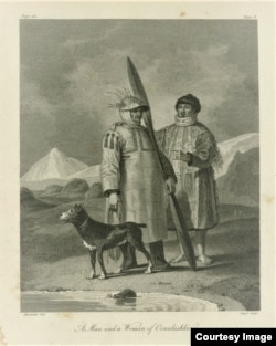 """Engraving entitled, """"A Man and a Woman of Oonalashka (Alaska),"""" from an 1802 account of exploration to present-day Alaska. Courtesy of the John Carter Brown Library at Brown University."""