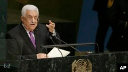 FILE - Palestinian President Mahmoud Abbas, shown addressing the U.N. General Assembly in New York in September, says he rejected a peace deal with Israel because he was not given the chance to study the map that spelled out Ehud Olmert's offer.