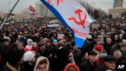 9일 우크라이나 도네츠크에서 대규모 친 러시아 시위가 열렸다.