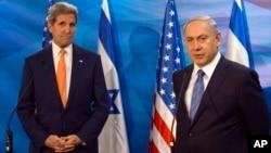 2015年11月24日美国国务卿克里在耶路撒冷与以色列总理内塔尼亚胡(右)会谈