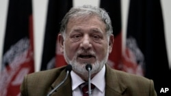 FILE - Independent Elections Commission chief Ahmad Yousuf Nuristani speaks during a press conference in Kabul, Afghanistan. He said on Jan. 18, 2016, postponed parliamentary polls would be held in Oct.