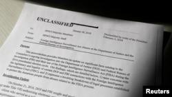 Bản ghi nhớ của phe Cộng hòa tại Ủy ban Tình báo Hạ viện được công bố ngày 2/2/2018 tại Washington D.C.