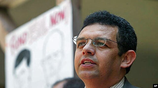 Executive Director of CASA of Maryland, Gustavo Torres, speaks at CASA's headquarters in Baltimore, Maryland,  May 13, 2004 (file photo)