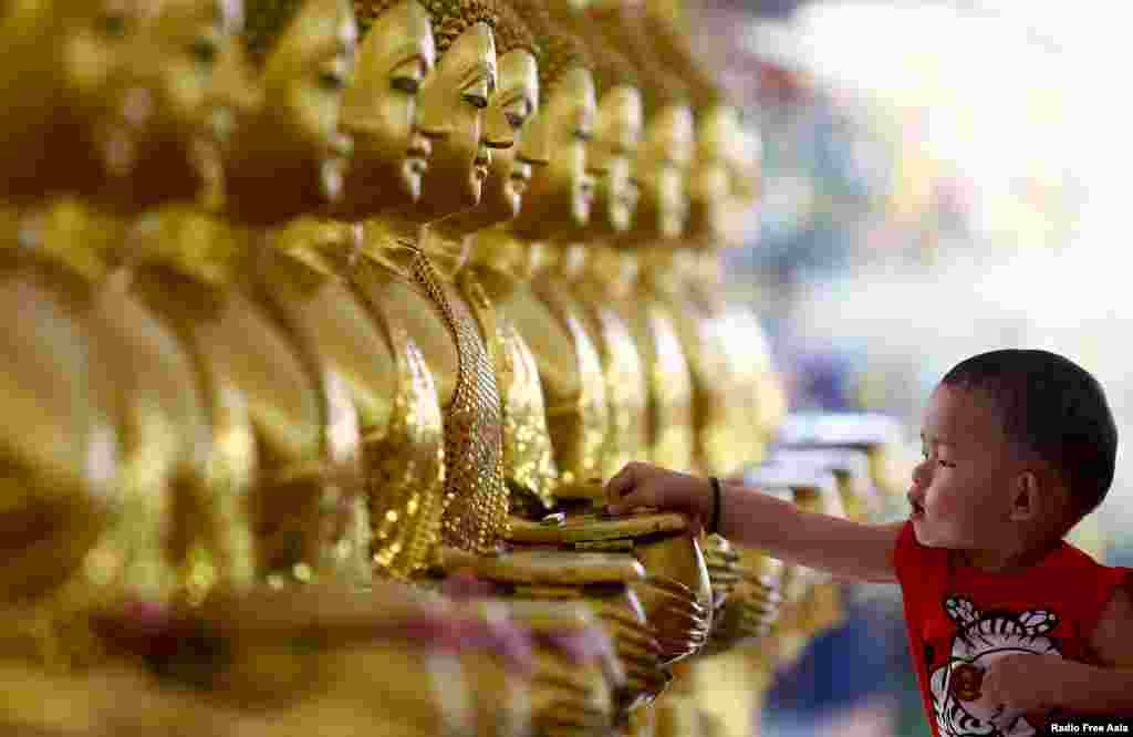 A child drops coins into golden Buddha statues as a symbol of blessings on Vesak Day at the Thai Buddhist Chetawan Temple in Petaling Jaya, near Kuala Lumpur.