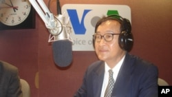 Sam Rainsy, leader of SRP, talks to VOA Khmer on 'Hello VOA', while visiting Washington DC, on Thursday.