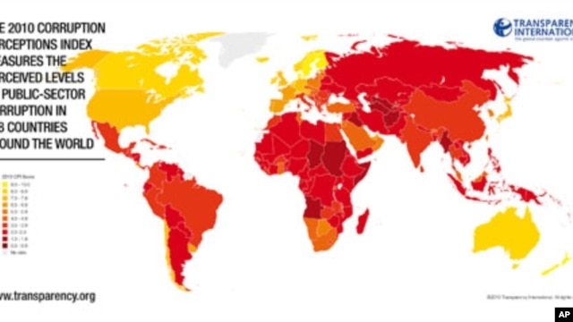 A world map with Transparency International's 2010 corruption perceptions index, 26 Oct 2010