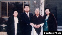 Kim Jong Nam(2nd left) posed with Sung Hye Rang, Kim Won Ju, Ri Nam Ok at Kim Jong IL'S birthday in 1992. Source: Imogen O'Neil/The Golden Cage: Life with Kim Jong Il, A Daughter's Story.