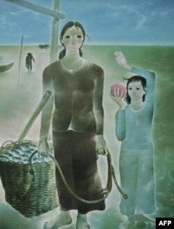 Gia đình chài cá, sơn dầu trên bố 137 x 177 cm Nguyễn Trung 1980