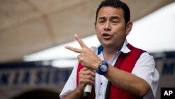 El candidato Jimmy Morales durante un mitin en Chichicastenango, Guatemala.