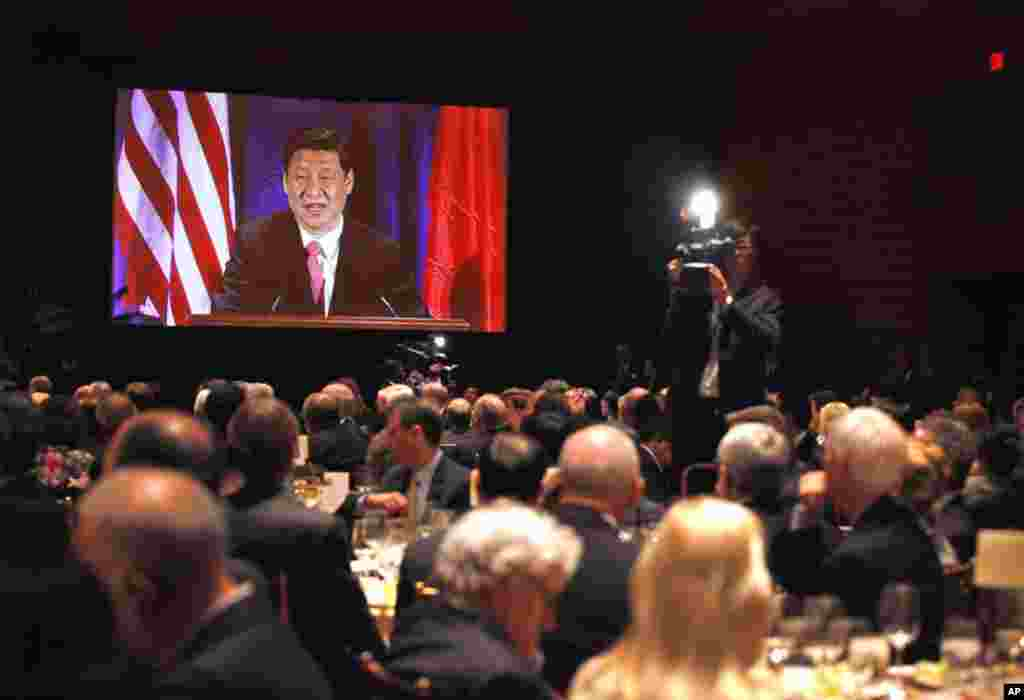 Xi Jinping speaks to the US-China Business Council in Washington, Wednesday, Feb. 15, 2012. (AP)