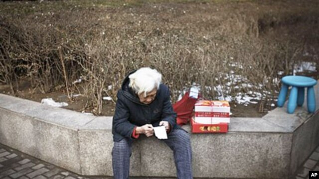 An elderly woman checks a receipt next to the groceries she bought outside a shop in Beijing, February 27, 2011