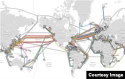 The world's undersea cables, image courtesy of TeleGeography.