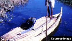 Un bateau en papyrus sur un lac en Ethiopie (Photo John Gaudet)