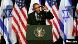 Presiden Amerika Barack Obama berpidato di hadapan para mahasiswa Israel di Yerusalem Kamis (21/3).