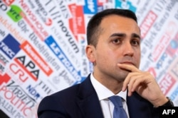 Italy's Foreign Minister Luigi Di Maio gives a press conference at the Foreign Press Association in Rome, Feb. 27, 2020.