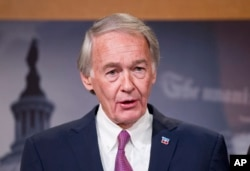 FILE - Sen. Edward Markey, D-Mass., speaks during a news conference, Feb. 11, 2016, on Capitol Hill in Washington.