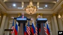 صدر ٹرمپ روسی ہم منصب سے ملاقات کے بعد مشترکہ پریس کانفرنس سے خطاب کر رہے ہیں۔