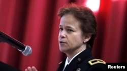 U.S. Brigadier General Diana Holland speaks at a ceremony in which she was sworn in as the first female commandant of cadets at the U.S. Military Academy at West Point, N.Y., Jan. 5, 2016.