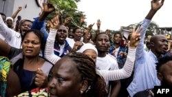 Des catholiques protestent dans les rues de Kinshasa, le 31 décembre 2017.