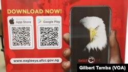 The Eagle Eye: la plate-forme mobile que vient de lancer l'EFCC pour permettre aux populations de dénoncer les cas suspects de corruption au Nigeria à Abuja le 18 Juillet 2021, (VOA/Gilbert Tamba).