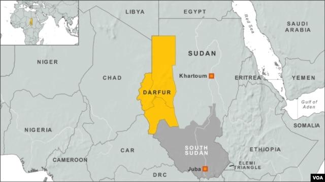 수단 다르푸르 지역 (노란색 부분).