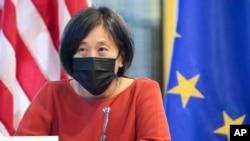 美国贸易代表戴琪(Katherine Tai)在美国-欧盟贸易和技术委员会会议期间发表讲话(2021年9月29日)。