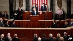 Donald Trump devant les 2 chambres réunies du Congrès, Capitol Hill, Washington, le 28 février 2017.