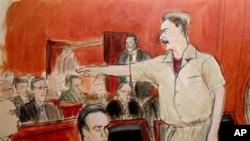 Suasana persidangan pedagang senjata Rusia, Viktor Bout di New York (5/4). Bout dijatuhi hukuman 25 tahun penjara atas keterlibatannya dalam penjualan senjata untuk mendukung terorisme.