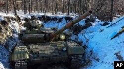 Un char des séparatistes prousses, le 14 janvier 2015.