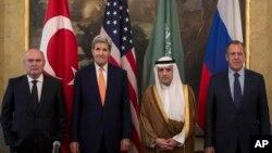 Viyana'da bir araya gelen Türk, Amerikalı, Suudi ve Rus dışişleri bakanları